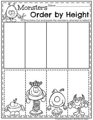Kindergarten Measurement Worksheets For Math Monsters Order By Size Kindergarte Measurement Worksheets Kindergarten Math Activities Measurement Kindergarten