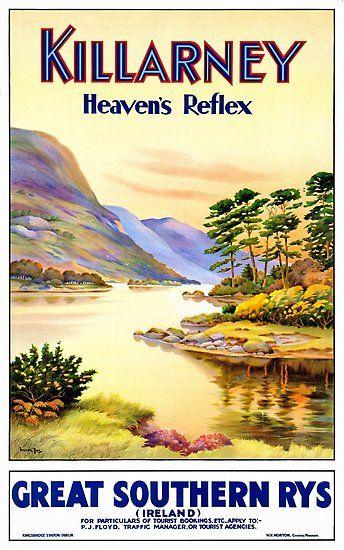 Ireland Vintage Travel Poster Restored Poster By Vintagetreasure Travel Posters Ireland Travel Vintage Travel Posters