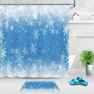 Advertisement Fantasy Snowflake Blue Sky Bathroom Shower Curtain Set Waterproof Fabric With Images Bathroom Shower Curtain Sets Shower Curtain Sets Curtains