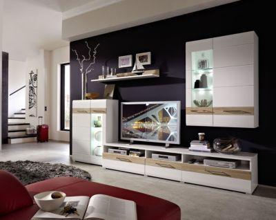 Wohnwand weiss hochglanz  Sonoma Eiche hell Feinriffel mit - wohnzimmer weiß hochglanz
