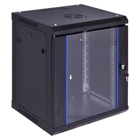 Electronics Network Cabinet Glass Door Locker Storage