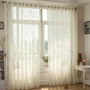 Romantic Lace Curtain In White Color For Home Decoration Sheer