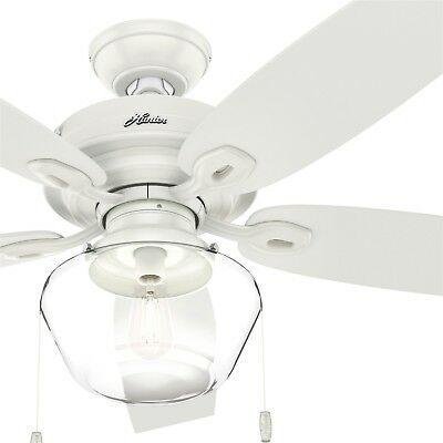 Hunter Fan 52 Inch Traditional Fresh White Outdoor Ceiling Fan With Light Kit Ceiling Fan Ceiling Fan With Light Fan Light
