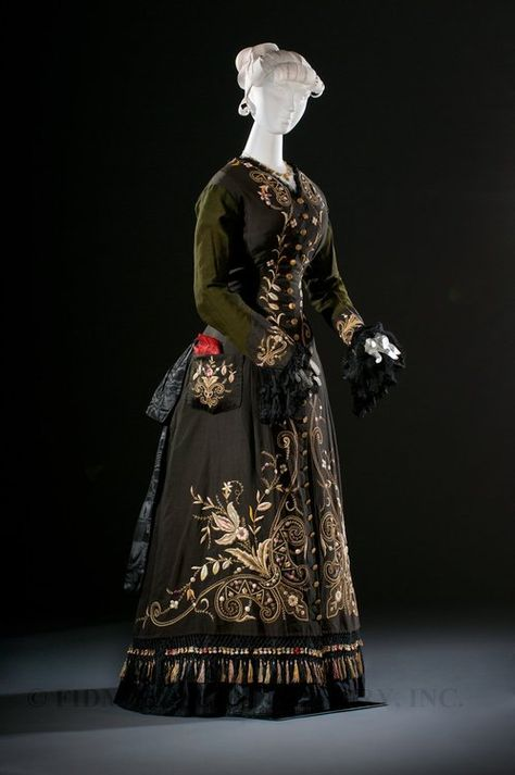 fripperiesandfobs:    Dress ca. 1876  From the Helen Larson Historic Collection Museum via the FIDM Museum Blog