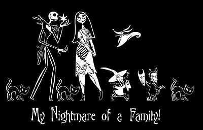 NIGHTMARE BEFORE CHRISTMAS JACK SKELLINGTON AND SALLY FAMILY VINYL DECAL STICKER