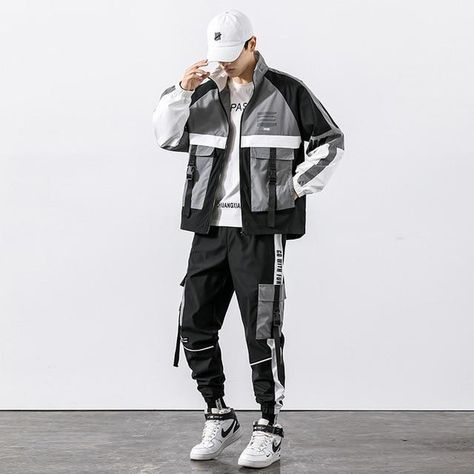 Hip Hop Work Wear Men's Jacket & Pant 2PCs Set Tracksuit Clothing - Dark Grey / XXL