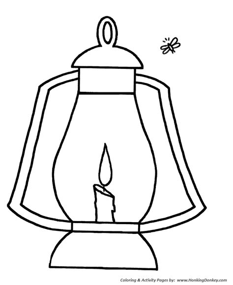 Simple Shapes Coloring Pages Lantern And Firefly Boyama