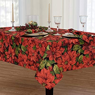 Amazon Com Christmas Poinsettia Celebration Fabric Tablecloth 60 X 120 Inch Oblong Home Kitchen Christmas Table Cloth Table Cloth Elrene Home Fashions