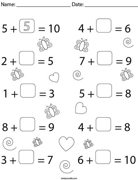 Fill In The Blank Equations Addition Math Worksheet Twisty Noodle Math Worksheet Equations Worksheets