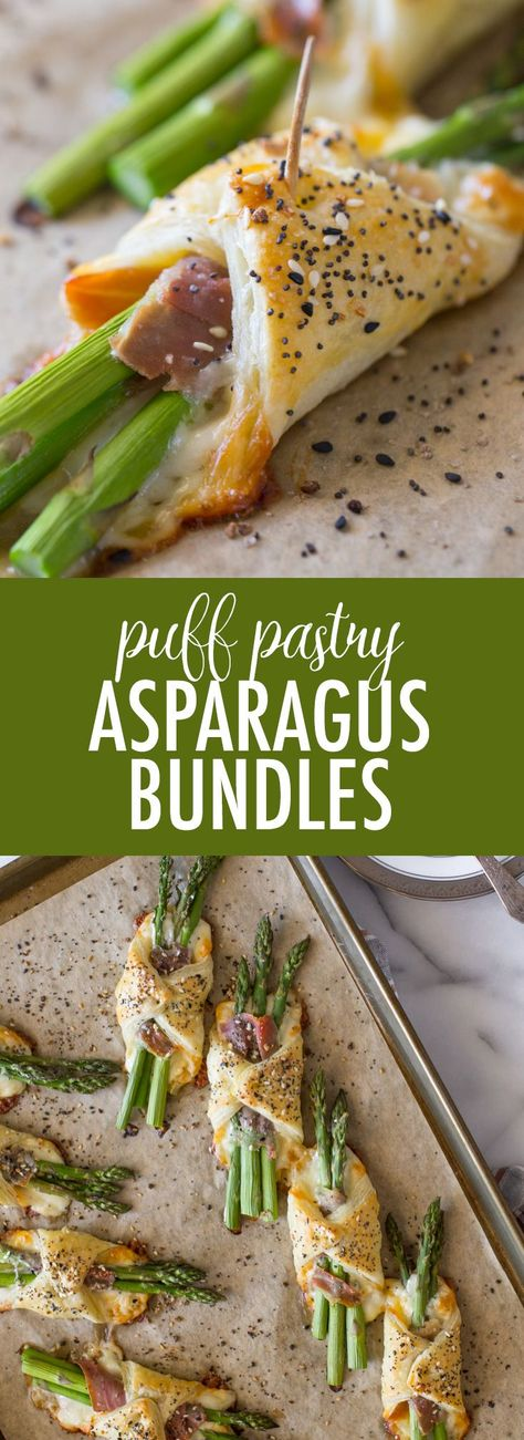These Puff Pastry Asparagus Bundles with prosciutto and cheese are the perfect way to add a little fancy to your springtime get-togethers. #asparagusbundles #puffpastryrecipes #asparagus #prosciutto #appetizer #sidedish