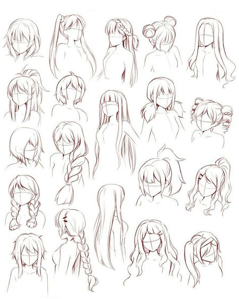 Anime Drawings Sketches, Manga Drawing, Cute Drawings, Anime Sketch, Hair Drawings, Drawings Of Girls Hair, Anime Hair Drawing, Drawing Anime Bodies, Body Sketches