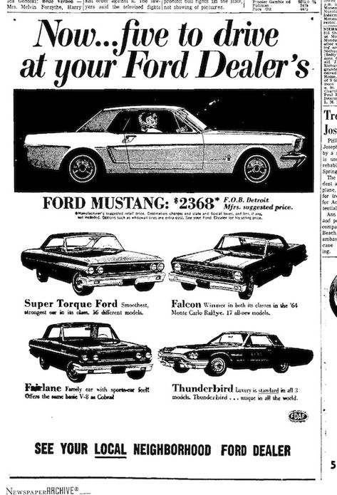 1964 Ford Mustang Newspaper Ad - Five to Drive