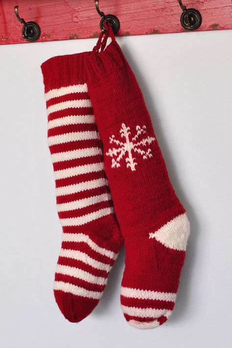 Hand Knit Christmas Stocking traditional red by CampKitschyKnits, $32.00