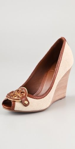 9491c59f2d0e Tory Burch Blond Lowell Peep-toe Pump Tb Logo Wedges Size US 8 Regular (M