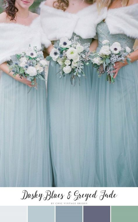 Romantic Winter Wedding Color Palette - Dusky Blue  Greyed Jade