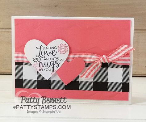 Stampin' UP! Ribbon of Courage stamp set and Support Ribbon framelit dies encouragement note card idea featuring Ruffled embossing folder by Patty Bennett