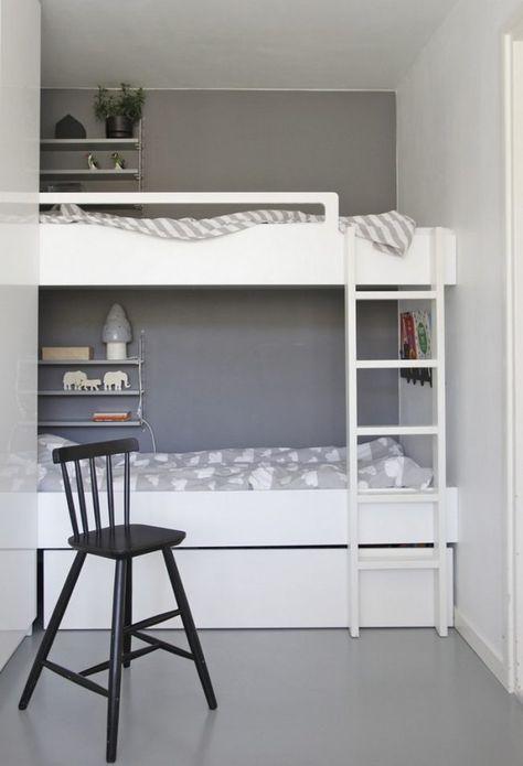 Kinderzimmer einrichten für zwei  kleines-kinderzimmer-einrichten-zwei-weisses-etagenbett-graue ...
