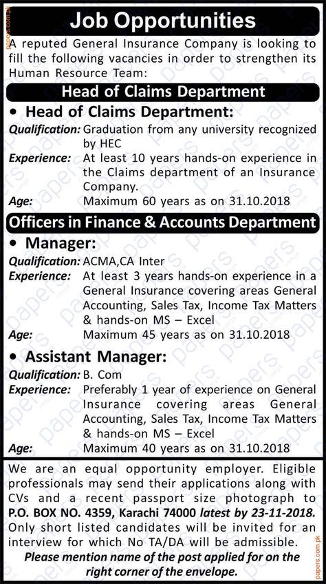 Jobs In General Insurance Company Karachi Government Jobs In