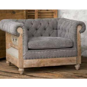 The Willow club chair is a combination of tufted upholstered fabric and a deconstructed exposed wooden frame. We admit it......it was LoVe at first sight.