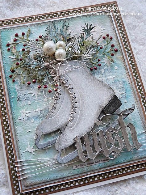The First Snow Had Fallen. The First Snow Had Fallen - created for Simon Says Stamp Monday Challenge using products by Tim Holtz and Sizzix fallen Homemade Christmas Cards, Noel Christmas, Homemade Cards, Handmade Christmas, Christmas Crafts, Christmas Decorations, Christmas Journal, Christmas Movies, Xmas Cards