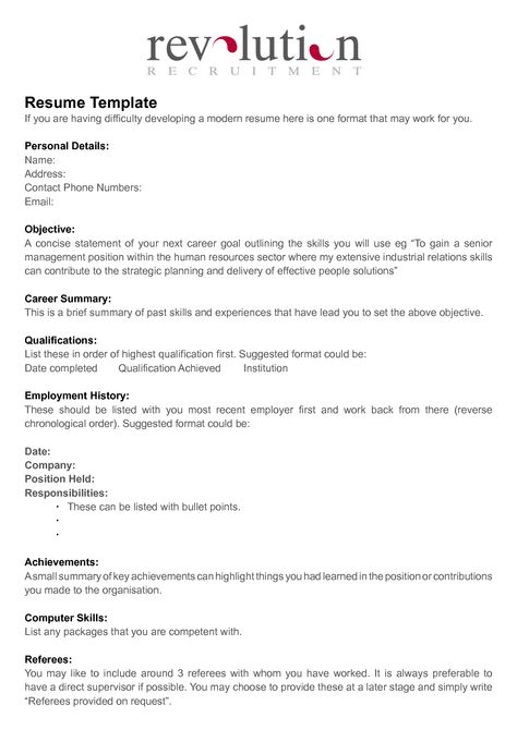 One Page Resume Template Creative cvs Pinterest Fonts - reverse chronological order