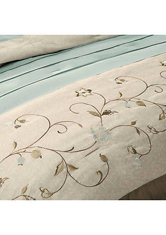 Serene Embroidered 7 Piece Blue Comforter Set Blue Comforter