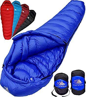 Hyke Byke 650 Fill Power Down Sleeping Bag For Backpacking Quandary 15 Degree F Ultralight Ultra Compact Down Sleeping Bag Best Sleeping Bag Sleeping Bag