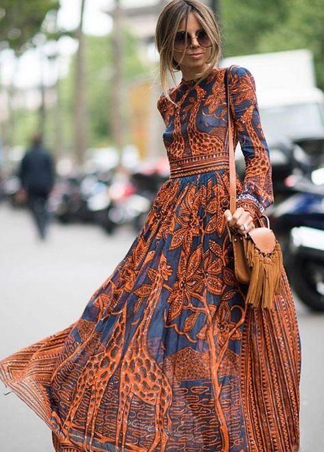 f4554750f78d0 Printed Dress Round Neck Long-Sleeved Boho Vintage Dress | Boho in ...