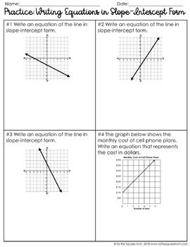 slope intercept form notes and practice  Writing Linear Equations in Slope-Intercept Form Notes | 7th ...