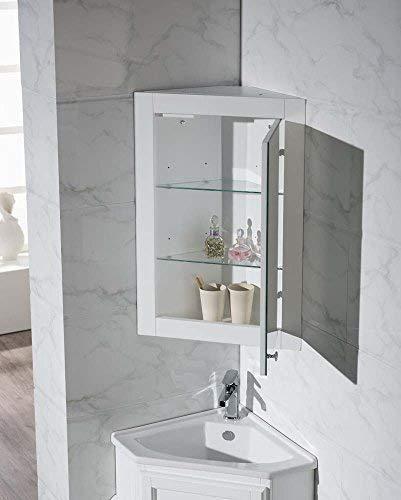 Stufurhome Hampton Corner Bathroom Vanity With Medicine Cabinet 804 09 In 2020 Corner Bathroom Vanity White Corner Bathroom Cabinet Corner Bathroom Mirror