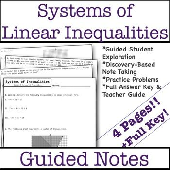 Graphing Systems Of Linear Inequalities Guided Notes Practice Middle School Math Resources Algebra Resources Linear Inequalities