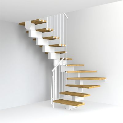 Escalier En U Metal Et Bois Magia 90 L 70 Cm 12 Marches Blanc