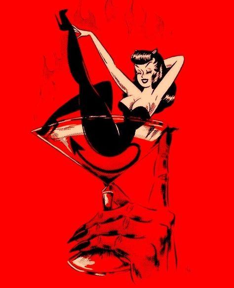 vince ray art illustrations \ vince ray art - vince ray art illustrations - vince ray art rock n roll - vince ray art retro Devil Aesthetic, Red Aesthetic, Aesthetic Quote, Arte Horror, Horror Art, Halloween Art, Vintage Halloween, Dibujos Pin Up, Arte Pop