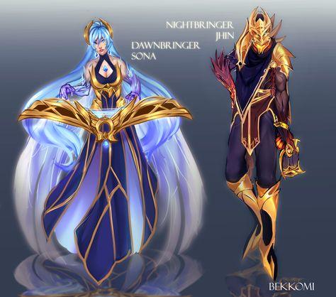 Dawnbringer Sona And Nightbringer Jhin League Of Legends Skin Concepts By Bekko League Of Legends Jhin Lol League Of Legends League Of Legends