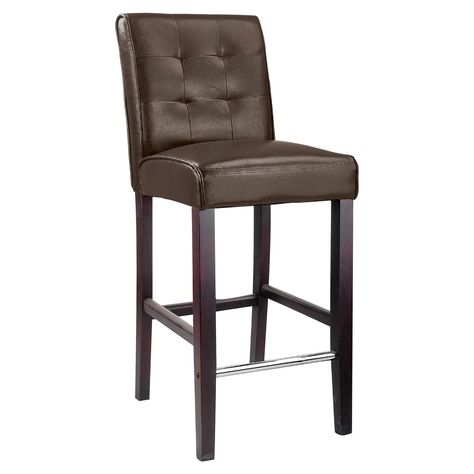 Corliving Antonio Tufted Back Bar Stool Dark Brown Leather Bar