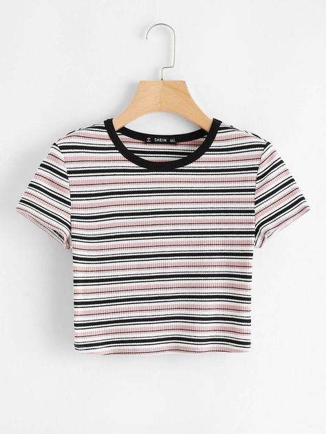 Shop Contrast Neck Striped Rib-knit Crop Tee at ROMWE, discover more fashion styles online. Teenage Outfits, Teen Fashion Outfits, Fashion Mode, Fashion Styles, Ladies Fashion, Womens Fashion, Style Fashion, Fashion Ideas, Fashion Dresses