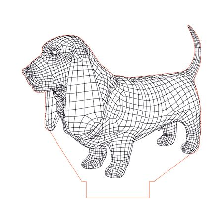 Basset Hound 3d Illusion Lamp Plan Vector File For Laser And Cnc 3bee Studio 3d Illusions 3d Illusion Lamp Illusions