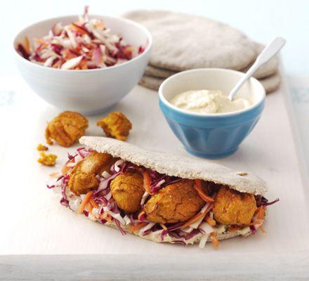 sweet potato falafel; cumin, garlic, coriander, lemon, flour