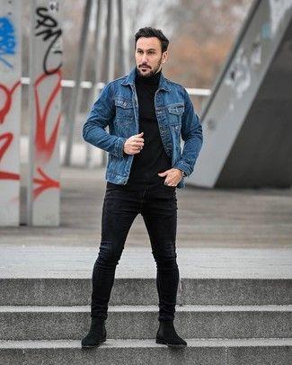 Men S Blue Denim Jacket Black Turtleneck Black Skinny Jeans Black Suede Chelsea Boots Denim Outfit Men Black Denim Jacket Outfit Black Chelsea Boots Outfit