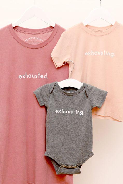 Exhausted Parent Matching T-shirt Set