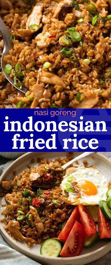 Nasi Goreng is the popular Indonesian fried rice which is traditionally served with a fried egg. The dark brown colour from the sauce distinguishes it from other Asian fried rice dishes. It's a simple recipe, you won't need to hunt down any unusual Indonesian Fried Rice Recipe, Fried Rice Recipe Chinese, Indonesian Recipes, Indonesian Cuisine, Fried Rice Dishes, Fried Rice Recipes, Asian Rice, Mexican Food Recipes, Kitchen
