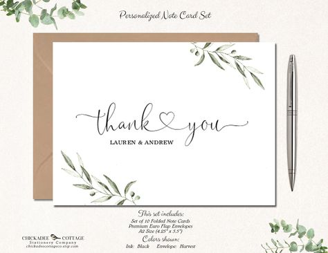 Wedding Thank You Cards Bridal Shower Thank You Cards