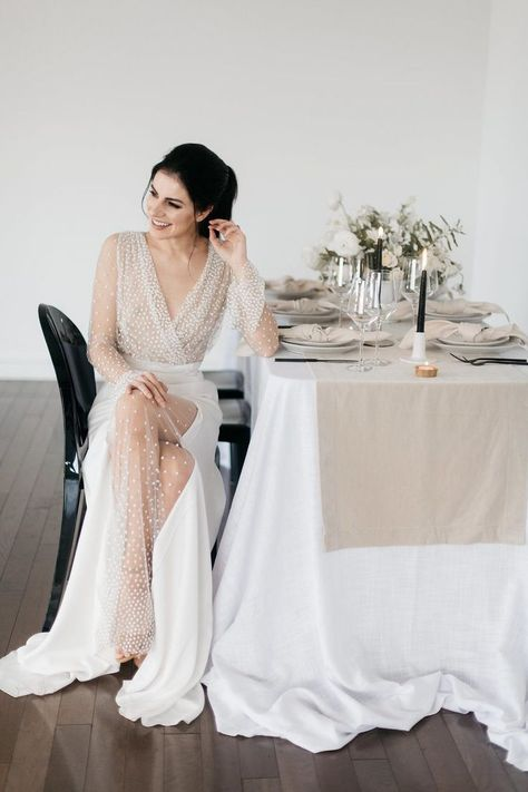 Beaded bridal gowns, neutral tablescapes and a concrete texture cake rule the day in this monochromatic wedding inspiration that took place in beautiful Washington. Modern brides everywhere should bookmark this scene - we promise, the thoughtful details l