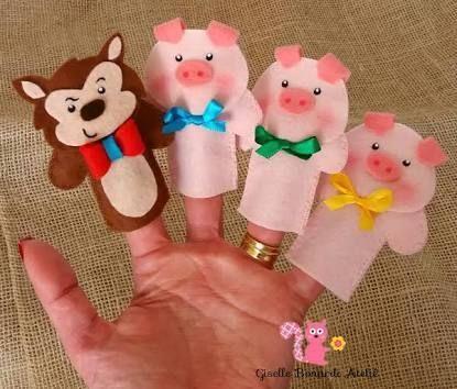 molde tres porquinhos feltro - Pesquisa Google | Títeres