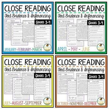 Reading Comprehension Bundle Grades 3-4 | Kids things in