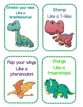 Get your kids up and moving with these fun dinosaur themed gross motor cards! You can stomp like a T-Rex, stretch your n Dinosaur Theme Preschool, Preschool Themes, Preschool Learning, Preschool Printables, Dinosaur Activities For Preschool, Dinosaurs For Toddlers, Dinosaur Games, Lesson Plans For Toddlers, Preschool Lesson Plans