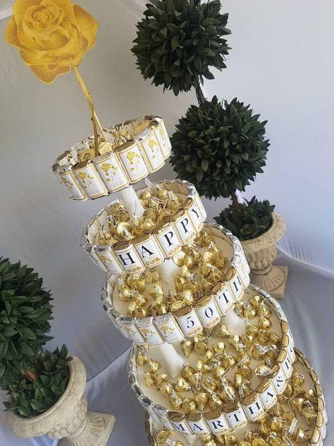 Anniversary Centerpiece Candy Cake, 50th golden Wedding Anniversary, candy buffet bouquet Unique Cen