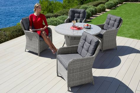 Gartenmobelset Menorca 13 Tlg 6 Stuhle Tisch O 120 Cm
