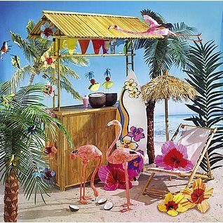 Die Beachbar aus Bambus ist ein toller Hingucker in jeder Sommerdekoration. Mit Palmen, Liegestühlen und den dazu passenden Drinks entsteht eine Strandlocation die zum Verweilen einlädt.