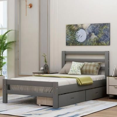 Harper Bright Designs Gray Twin Wood Platform Bed With 2 Drawers